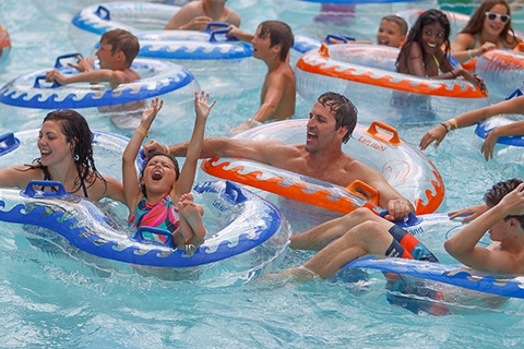 Families having a blast in a Schlitterbahn Waterpark - Galveston