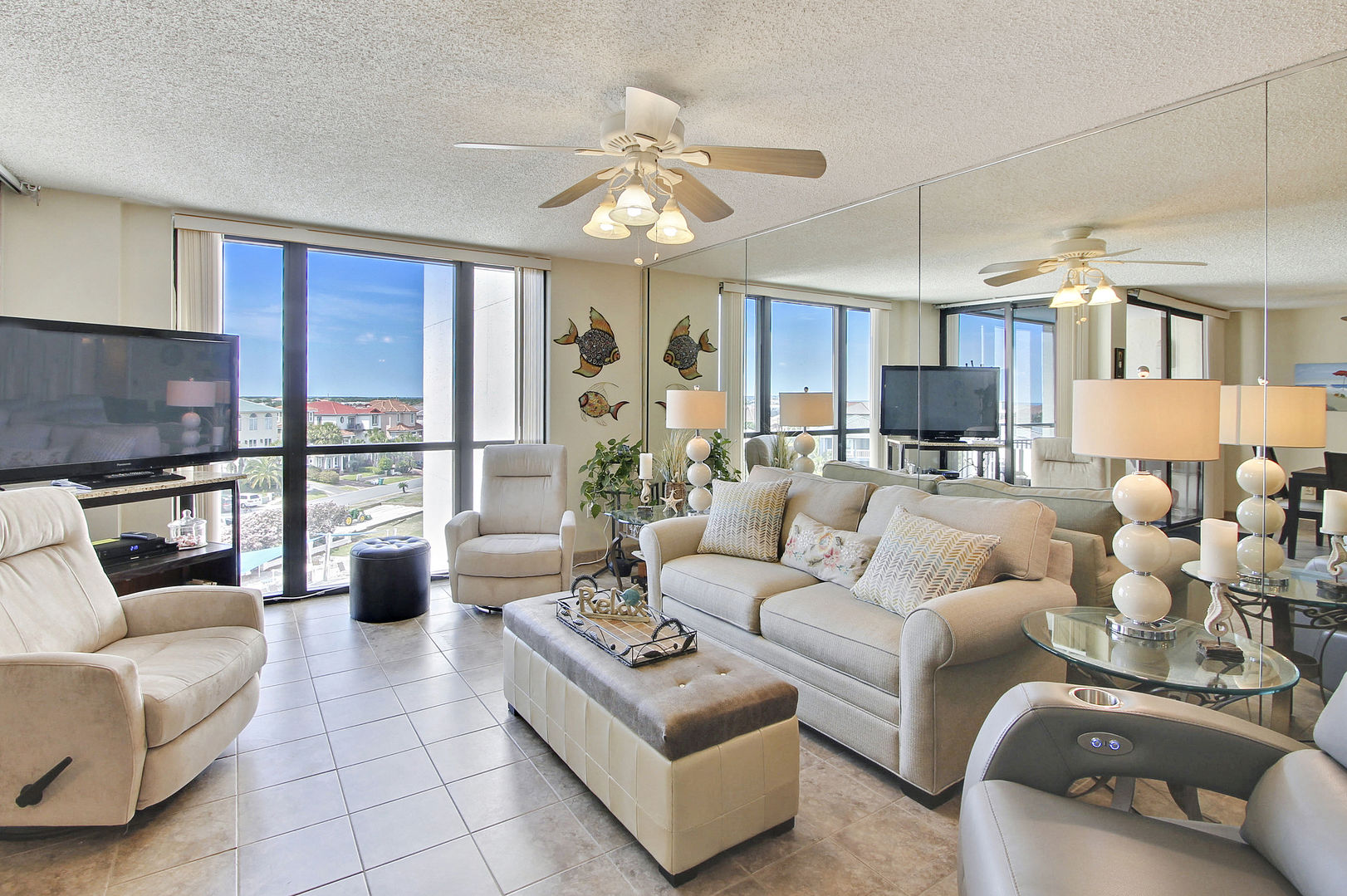 Forever Vacation Rentals living room overlooking the Emerald Coast, Florida