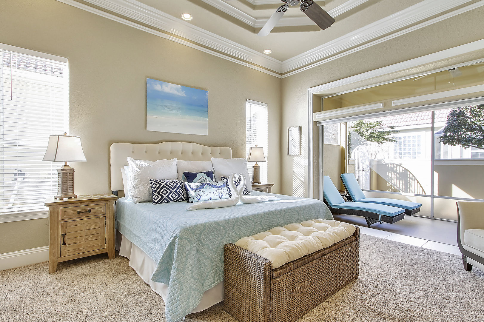 Forever Vacation Rentals bedroom with sun room in the Emerald Coast, Florida